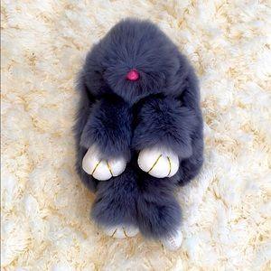 Dark Grey Faux Fur & Faux Leather Bunny Bag Charm